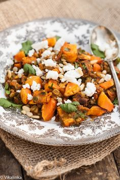 Roasted Butternut Squash with spiced lentils, feta and pine nuts. #vegetarian