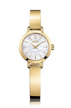 Gold-plated wristwatch with mother-of-pearl dial: 'HB6020', Assorted-Pre-Pack