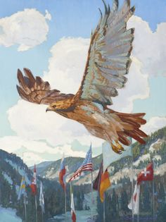 """""""Flying Colors"""" 40x30 celebrates the World Championships ski racing event that was in  Vail/Beaver Creek this winter."""