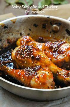 Spicy Sticky #Baked Glazed #Chicken Drumsticks #Recipe @SECooking | Sandra