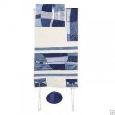 Raw Silk Appliqued Tallit Abstract Blue, by Yair Emanuel - Size 21 x 74 . $206.55