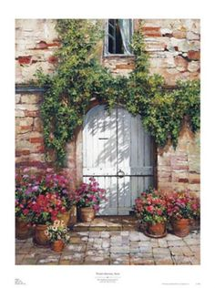 Wooden Doorway, Siena Print by Roger Duvall at Art.com