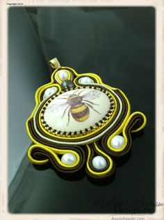 Honeybee Soutache Pendant by MIDesign on Etsy, $73.00