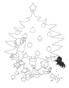 Time to decorate the Christmas tree/coloring page