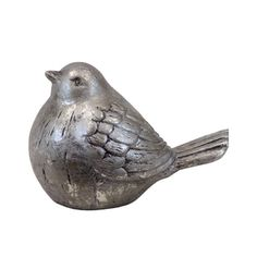 Silver Leaf Ceramic Bird