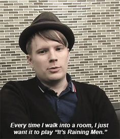 I need to know the original vid of this gif. I love Raining Men, too, btw. Emo Bands, Music Bands, Patrick Stump, Patrick Martin, Save Rock And Roll, Soul Punk, American Psycho, Young Blood, Pete Wentz