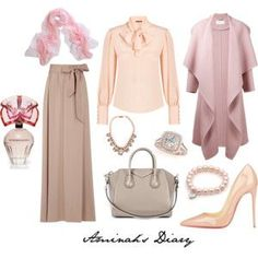 http://aminahshijabdiary.wordpress.com/ #hijab #muslima #fashion #style #elegant #work #outfit #look #work #skirt #beige #blouse #nude #pink #ootd