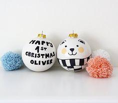 Personalisierte Christbaumkugel erste Kugel Keramik Weihnachten Christbaumkugel