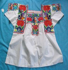 """Nahua blouse from Chilac Mexico    Embroidered blouse from Nahua region of San Gabriel Chilac, Puebla. Often a part of the """"China Poblana"""" dance costume."""