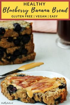 This healthy recipe is perfect for dessert or also a nutritious breakfast or afternoon snack! It's easy to make, gluten free, and vegan. You can top it with you favorite treats for a Toast Tuesday snack. It's packed with blueberries, but you can also add nuts, seeds, or your favorite goodies to the mix. #bananabread #blueberry #vegan #glutenfree #healthydessert #HealthyHacks