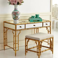 Bungalow 5 Collette Desk and Stool: The Collette desk and stool in gold leaf and mirror adds a dash of Hollywood glamour to your home. Gold leafed metal and mirror.Painted interior with full extension glides.Desk is Built In Furniture, Home Furniture, Bamboo Furniture, Painted Furniture, Bungalow 5, Vanity Desk, Gold Bedroom, Master Bedroom, Room Accessories