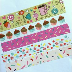 Sweet Treat Washi, Cupcake Decoration, Sprinkle Tape, Lollies, Cake, Candy, Candies, Coffee, Peppermint, Chocolate Covered Strawberries