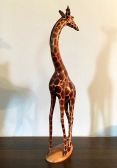 Vintage Hand Carved Kenya Giraffe  Collectible by Pastfinds