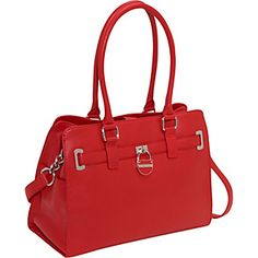 CK Monterey Leather Belted Tote in lipstick red