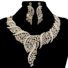 Fashion New Necklace Earring Jewelry Set Crystal Rhineston Freeshipping  #yafex