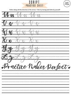 This listing is for uppercase and lowercase script letter drills of the full alphabet to practice brush lettering/modern calligraphy! Handwriting Practice Sheets, Hand Lettering Practice, Hand Lettering Alphabet, Cursive Handwriting, Calligraphy Practice, Doodle Lettering, Brush Lettering, Calligraphy For Beginners, How To Write Calligraphy
