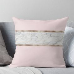 Strawberries and cream - grey marble & rose gold Throw Pillow - 14 room decor Gold grey ideas Room Decor Bedroom Rose Gold, Marble Bedroom, Blush Bedroom, Cute Bedroom Decor, Rose Gold Bed, Rose Gold Decor, Blush Pink And Grey Bedroom, Gold Comforter, Cream Bedding