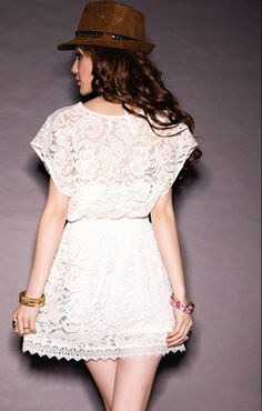 V Neck Short Sleeve Slim White Lace Dress