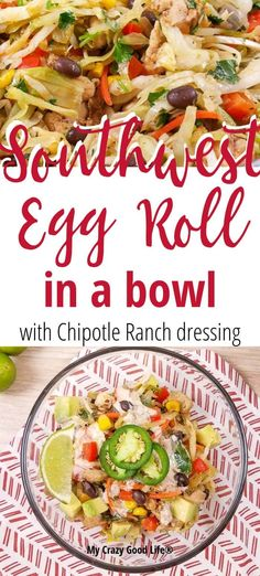 This delicious and healthy Southwest Egg Roll in a Bowl with Chipotle Ranch Dressing is an easy recipe to throw together after a busy day. A family friendly dinner recipe that you can easily make spicy or mild, this is a healthy dinner recipe that you can Instant Pot Dinner Recipes, Best Instant Pot Recipe, Healthy Dinner Recipes, Ww Recipes, Healthy Desserts, Healthy Foods, Recipies, Cooking Recipes, One Pot Meals
