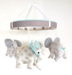 Aqua Grey Baby Mobile--Elephant Fabric Mobile--Chevron Nursery Mobile on Etsy, $98.50
