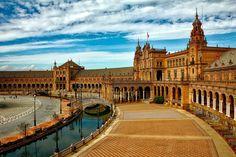 #architecture #bridges #building #canal #city #clouds #hdr #historic #landmark #pavement #plaza #plaza espana #seville #sky #spain #tourism #urban #walkway