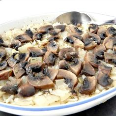 Easy Baked Rice with Mushroom and Onion - this dish is the perfect side to any meal.