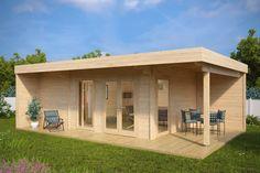 Gartenhaus mit Sauna Hansa Lounge (große Gartensauna) 22m² / 40mm / 8x5