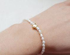 pearls & gold star bracelet party jewelry