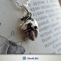 Handmade anatomical heart necklace ►►► SPECIFICATIONS ► ★ material: Sterling Silver 925 ★ stones: without stones ★ Size: 18x10mm ★ pendant comes in designers handmade box, so its a complete gift. ★ option-1: Sterling Silver Chain (Lengths: 18(45cm), 20(50cm), 22(55cm) or 24(60cm) ► PLEASE: