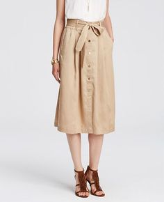 Twill Belted Midi Skirt