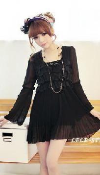 Romantic Peasant Style Long Sleeves Black Mini Dress ***Ships Free + Points***