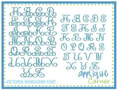 "Victoria Monogram FONT 1.5"", 2"", 2.5"", 3"", 3.5"", 4"", 4.5"", 5"", 5.5"", 6"", 6.5"",  7"" sizes"