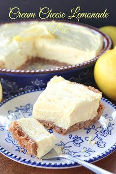Cream Cheese Lemonade Pie Lemon Recipes, Pie Recipes, Dessert Recipes, Cheese Pies, Lemon Cream Cheese Bars, Strawberry Cream Cheese Pie, Cream Cheese Cheesecake, Lemon Cheesecake, Cream Cheese Lemonade Pie