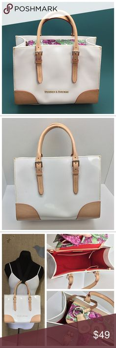 "Dooney & Bourke Janine Satchel 🚫Trades/Holds🚫 D&B Janine  - White patent leather, florentine/vachetta trim, gold hardware  - Red fabric lining w/ 3 slip + 1 zip pocket, key fob  - Medium sz : about 13"" wide x 9 x 4, handle drop adj. 4-5.5""  - No crossbody strap   - Pre-loved so not pristine, pen marks on top flap (I covered with a Coach scarf (included!)  and inside edge, few small marks (pic 5), vachetta shows a little wear, clean lining, no cracks in edging Plz ask ?s if unsure of…"