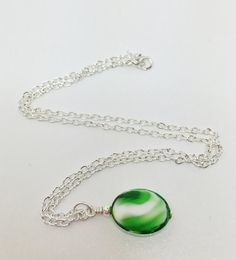 Green and White Lampwork Necklace White Swirl by LynnsGemCreations