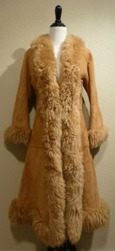 Vintage 1970's Shearling Sheepskin Fur Suede Leather Hippie Boho Coat Jacket XS Small | eBay