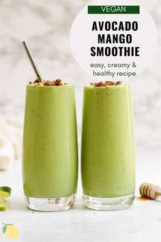 Kiwi Smoothie, Apple Smoothies, Easy Smoothies, Breakfast Smoothies, Smoothie Diet, Avocado Mango Smoothie, Simple Green Smoothies, Avocado Toast, Avocado Drink