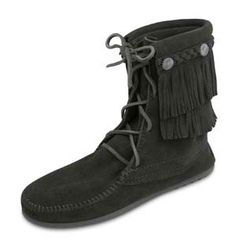 Minnetonka Women's Black Suede  Double Fringe Tramper Boot.    Product # 629    Soft, supple suede leather tramper boot with double layer of ankle fringe accented with metal conchos on leather braid. Whip-stitching detail around the toe. Lace up the front with genuine rawhide laces that tie at the top. Fully padded insole and lightweight, sporty rubber sole for durability.    Color: Black Suede  Height: 7 inches    Sizes: 5, 6, 7, 8, 9, 10, 11