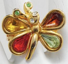 Colorful Butterfly Ring/Gold/Petite/Spring Jewelry/Statement Ring/Gift For Her/Adjustable/Under 12 USD