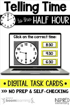 Telling Time to the Half Hour Set - Boom Cards™ - For Distance Learning First Grade Classroom, Primary Classroom, First Grade Math, Second Grade, Telling Time Activities, First Grade Activities, Learning Activities, Teaching Tools, Teaching Resources