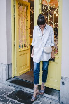 POLIENNE | wearing a VILA shirt, AG JEANS denim & ASOS sandals