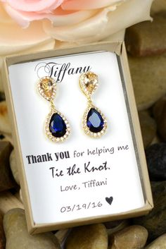Champagne, Navy Earrings, Peach Earrings, Sapphire Earrings, Wedding Jewelry Bridal Dangle drop Bridesmaid Gift, Personalized Jewelry