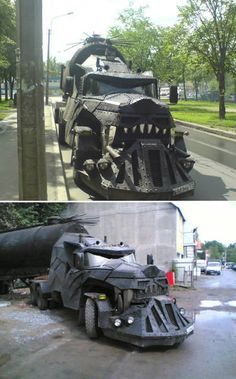 "This weird truck was spotted in Russia. Made by a group of Moscow bikers, the vehicle is called ""Iron Wolf""."