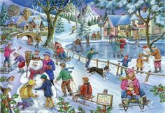 Frosty and Friends - christmas, snow, winter, ice, village, snowmen, artwork, people, painting