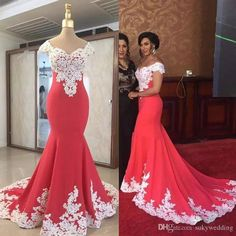 ZYLLGF Bridal Fishtail Sweetheart Avondjurken Lange Off Shoulder Women Evening Gowns Turkey With White Appliques African Lace Dresses, African Fashion Dresses, Dress Fashion, Mermaid Evening Dresses, Evening Gowns, Red Lace Prom Dress, Party Gowns, Celebrity Dresses, Formal Dresses