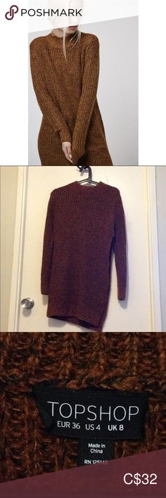 TOPSHOP Brown Funnel Neck Tunic Jumper Long tunic-style sweater, made with wool & mohair blend. Slit-opening on left side. Great condition, no holes or pulls in the fabric. Jumper, Men Sweater, Funnel Neck, Plus Fashion, Fashion Tips, Fashion Trends, Turtlenecks, Cowl, Topshop