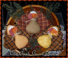 Primitive Turkey Thanksgiving Bowl Fillers by OldAppleBarrelPrims, $15.95