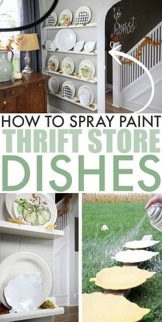 In this post I'll show you how to spray paint thrift store plates for a quick an. In this post I'll show you how to spray paint thrift store plates for a quick and inexpensive way to update the decor in your home. Upcycled Crafts, Upcycled Home Decor, Diy Home Decor, Diy Crafts, Recycled Decor, Indoor Crafts, Thrifty Decor, Room Decor, Thrift Store Shopping