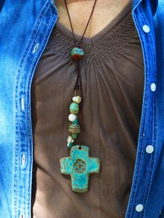 Lariat Pottery 'n Pearls #country #cowgirldesigns #cowgirljewelry #turquoise #crosses #crossjewelry #pearls
