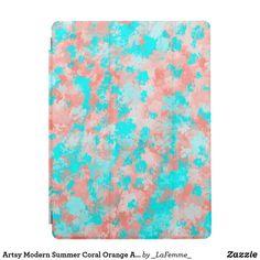 Artsy Modern Summer Coral Orange Aqua Abstract iPad Pro Cover